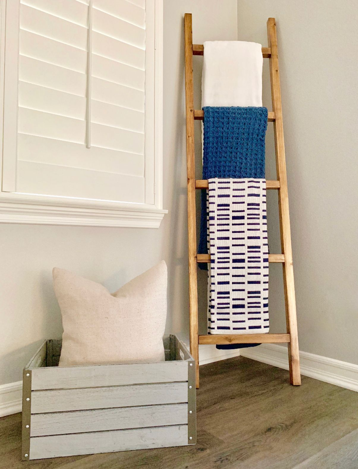 Blanket Ladder Decorated With Target Blankets And Wood Crate From
