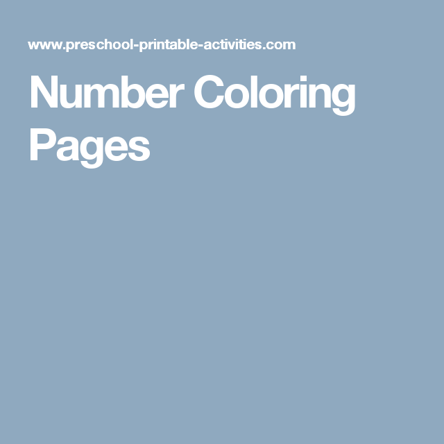 Number Coloring Pages | ffff | Pinterest | Printable coloring sheets ...