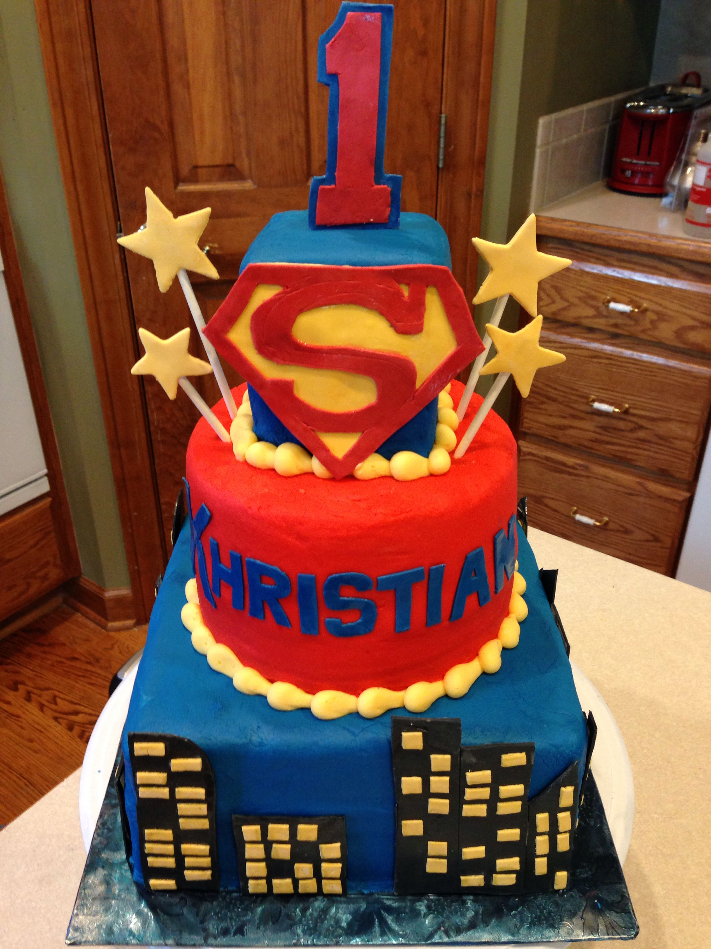 Groovy Superman 1St Birthday 1St Birthday Cake 1St Birthday Cake Funny Birthday Cards Online Bapapcheapnameinfo