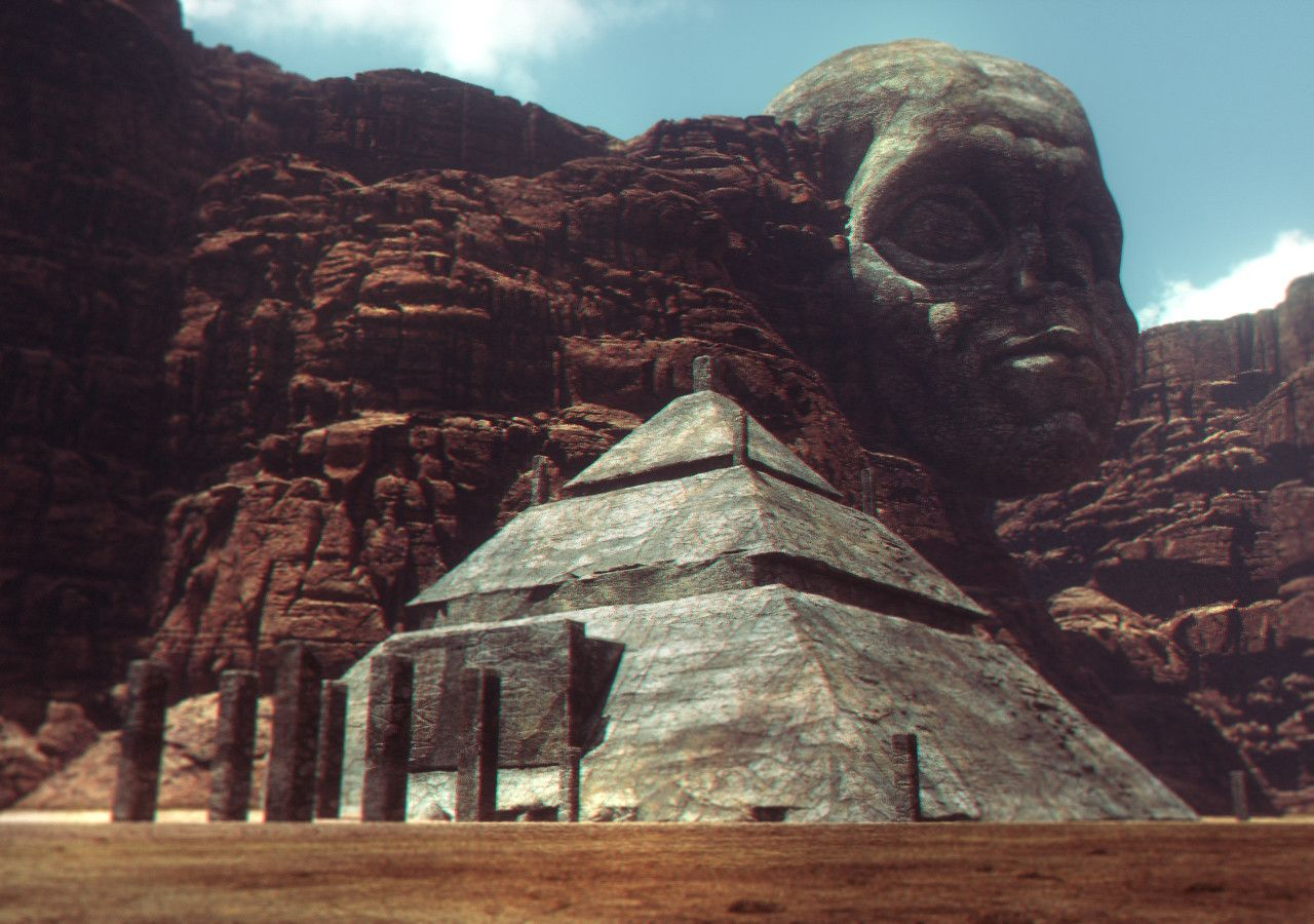 Terragen artstation carved stone heads on ancient mars marton
