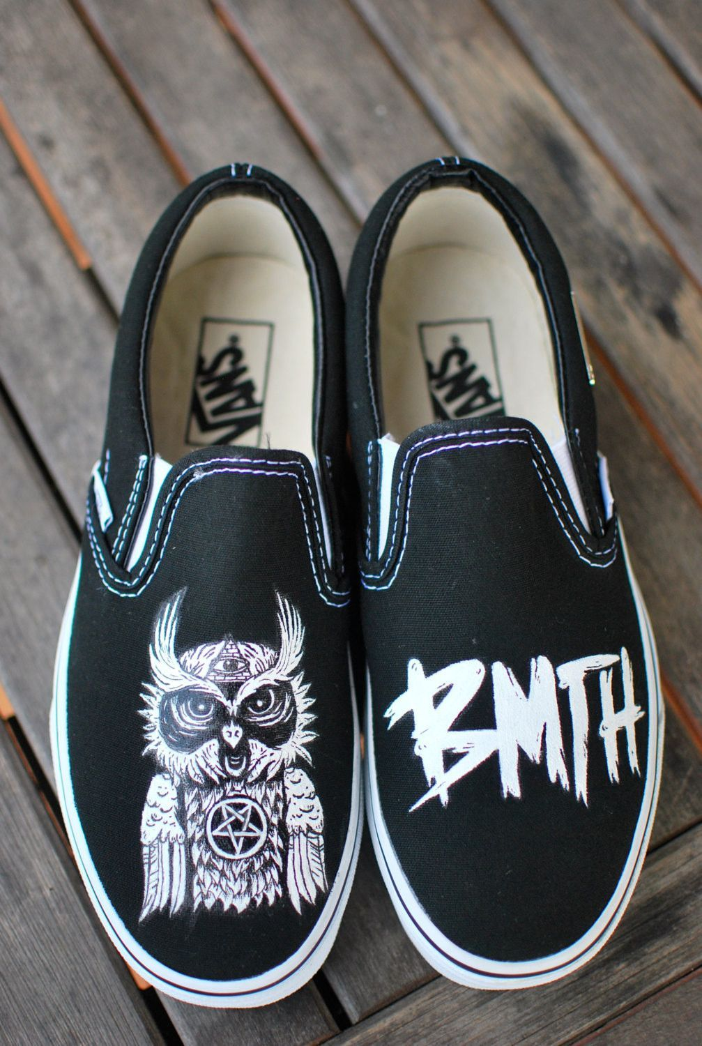 BMTH Owl Vans slipons by BStreetShoes