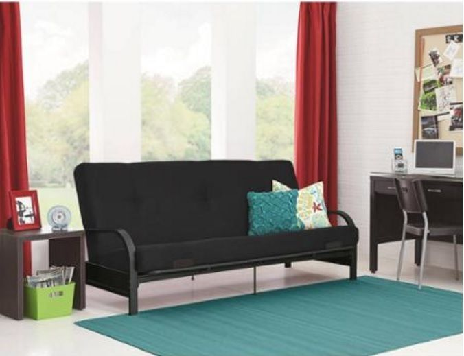 "Metal Arm Futon Sofa Bed Couch With 6"" Mattress Sleeper Furniture"