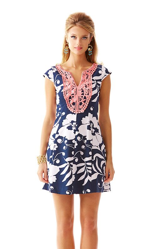 6f37b6e85d7c61 The Briella fit and flare dress is already a Lilly girl staple. Now add a  navy and white print and a pop of pink - we know - we are freaking out ...