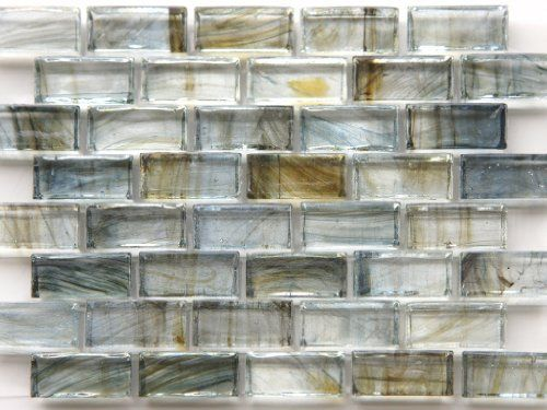 Best Mirabelle Collection Glass Tile Blue Gray Brown Brick 400 x 300