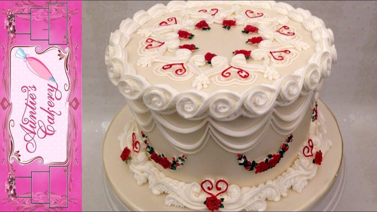 Beautiful One Tier Anniversary Cake YouTube Tiered
