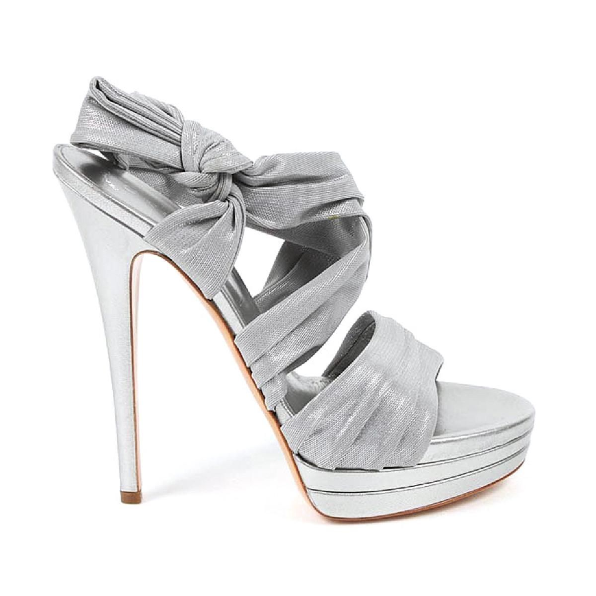 ad1025a2a These Heels Are Gorgeous❣️Add 2 Cart Today! Casadei Ladies Stiletto Heel  Sandals W Silver Leather Fabric Shoes - Women - Sandals - Keyomi-Sook   stiletto ...