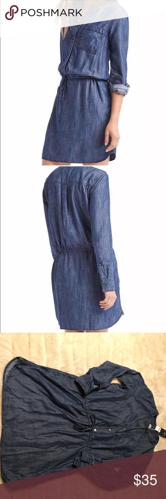 Nwt gap sz large long sleeve tencel shirt dress nwt chambray and
