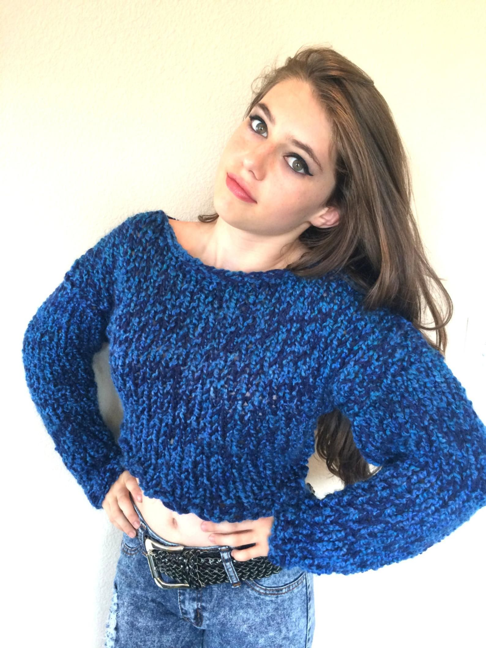 Hand-knit boy or girl boatneck turquoise and white patterned sweater