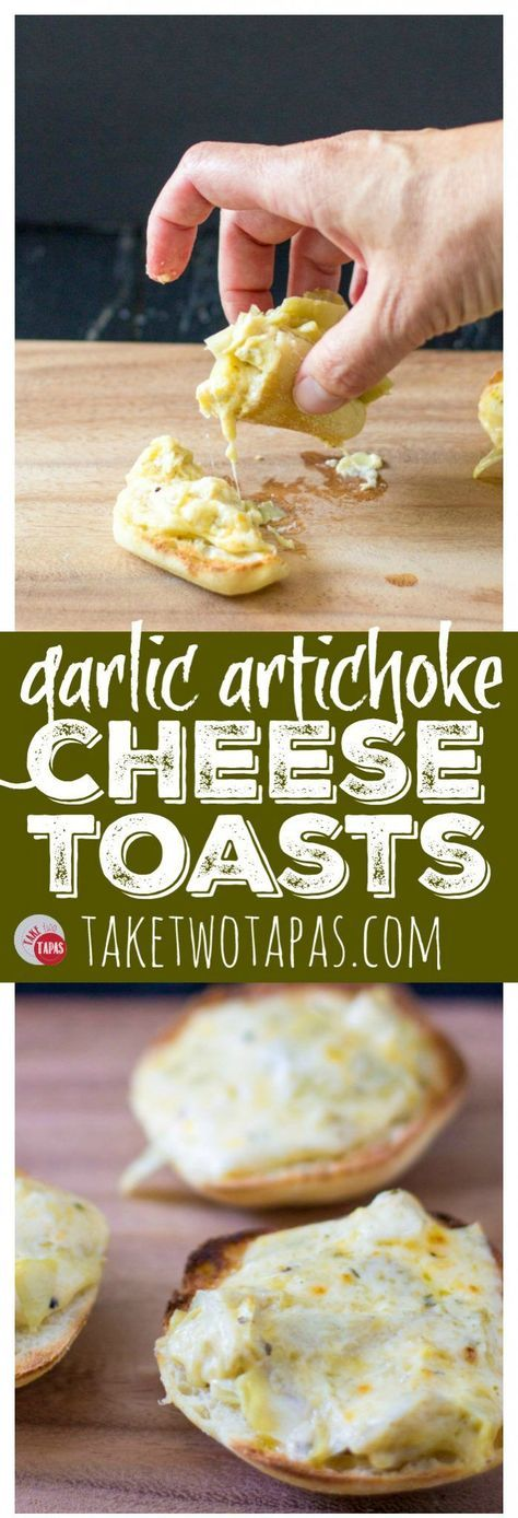 Warm and gooey cheese toast is made even tastier with roasted garlic and tangy marinated artichokes. Garlic Artichoke Cheese Toasts Recipe | Take Two Tapas