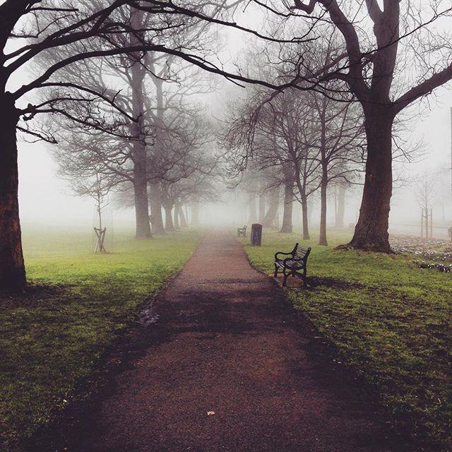 Today didn't start off so sunny.. The meadows looked like the dementors might be lurking around.... #Edinburgh #edimbourg #edimburgo #Scotland #escocia #Meadows #harrypotter #dementors #fog #haar #scottishfog #misty #caledonianlanguageschool #socialtripthisweek #harrypotterwalkingtour #edinphoto