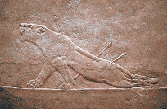 The assyrian bas relief carving of a dying lioness shot