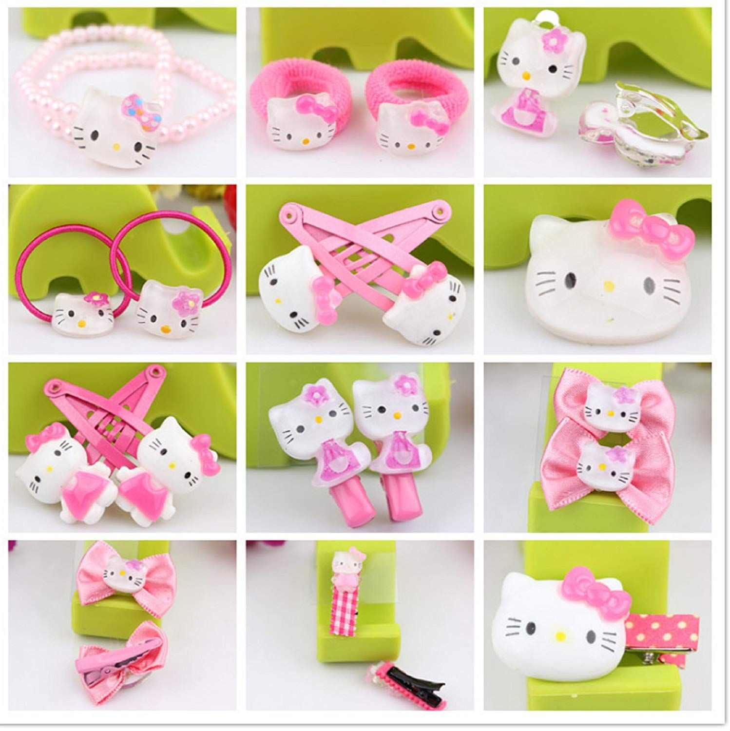 dc15903de Amazon.com : NiceGo Pink Hair Bows Clips for Girls - Hello Kitty Ribbon  Boutique