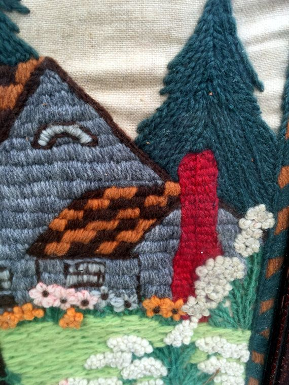 Antique Crewel Embroidery Picture Cottage gaden with Wishing Well ...