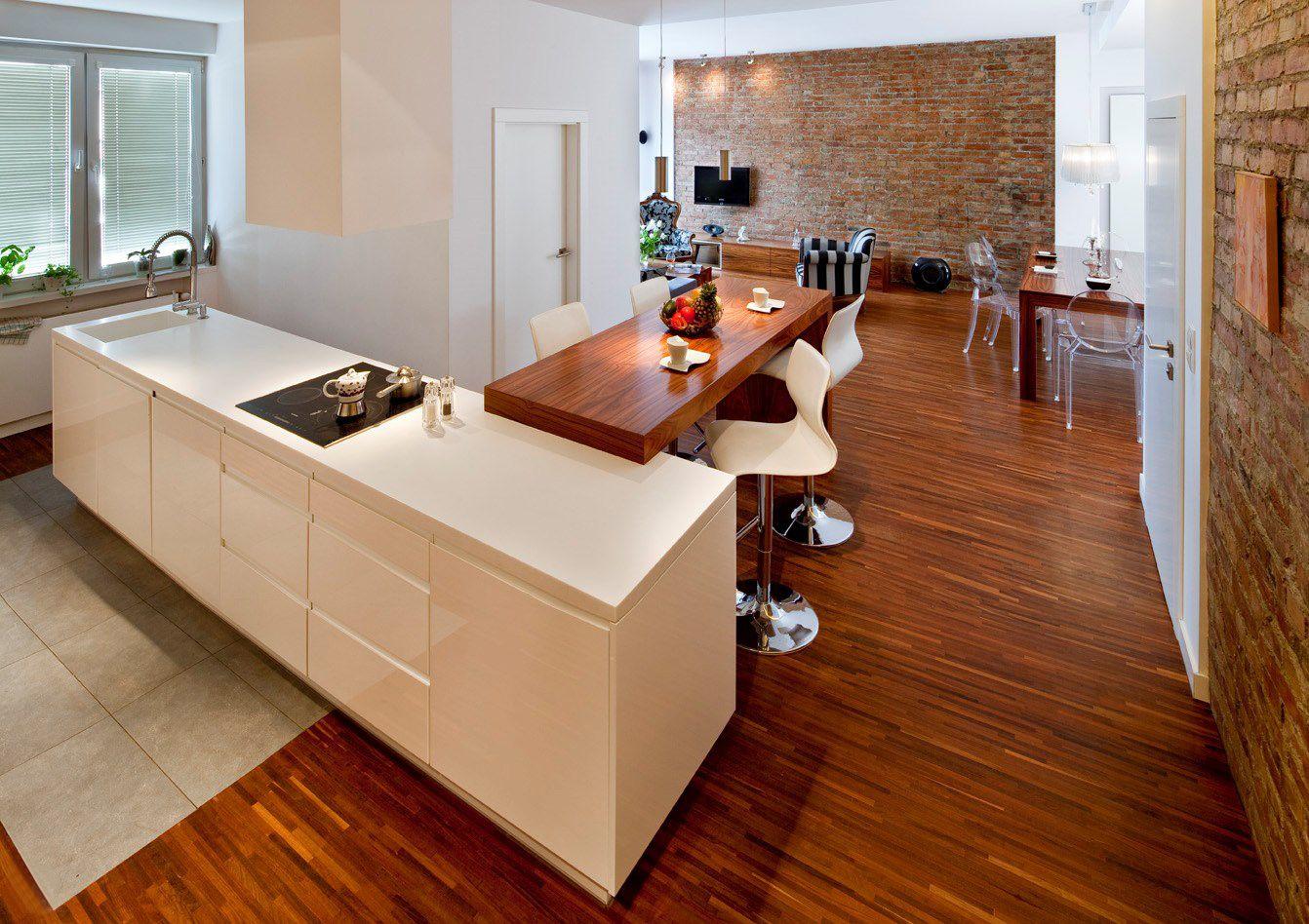 Aranżacja kuchni w otwartej przestrzeni open spaces pinterest