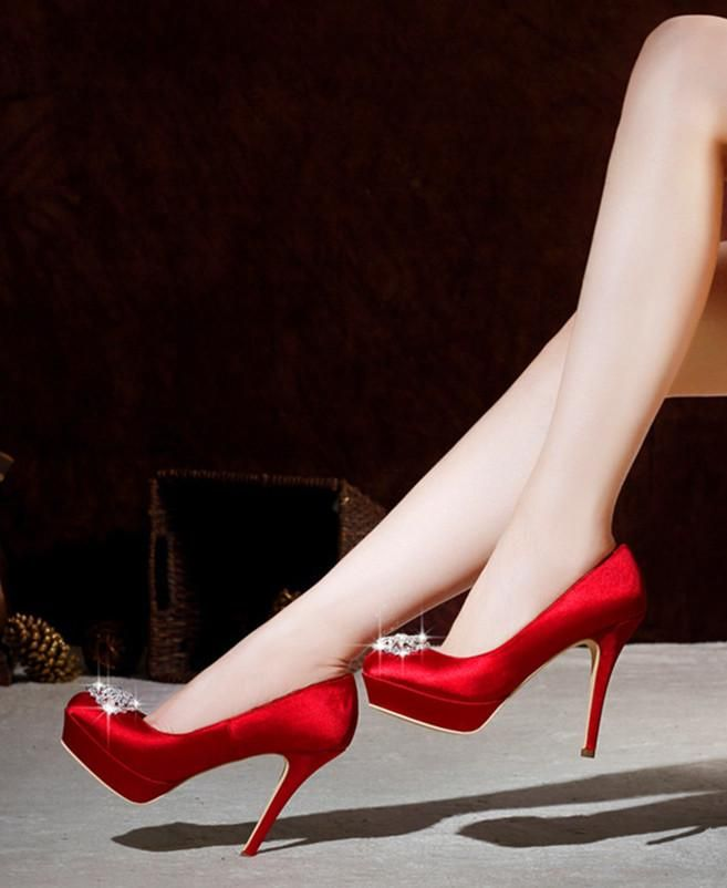 FSJshoes - FSJ Shoes Women s Red Fabrics Rhinestone Round-toe Pencil Heel  Bridal Shoes - AdoreWe.com bb7bc63a00d2