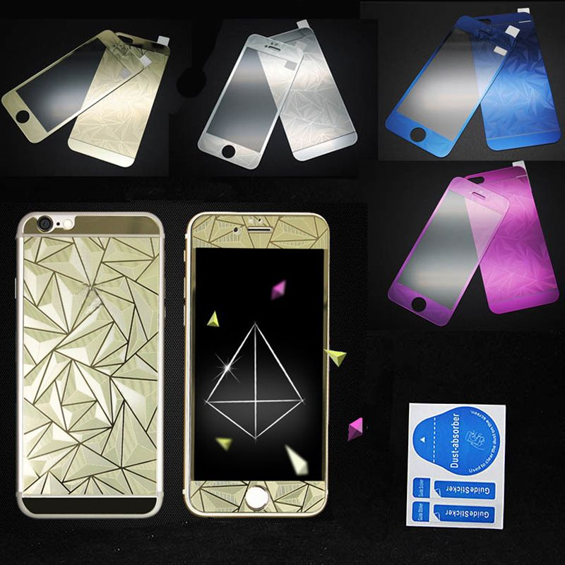 8127fe65d02 2Pcs/set Front+Back 3D Diamond Mirror Color Full Cover Tempered Glass  Protective Film for iPhone 4 4S 5 5S Full Coverage Film