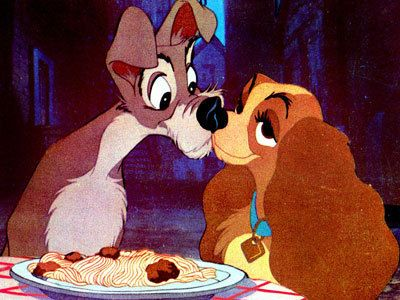 Lady and the Tramp - Meatball and spaghetti kiss