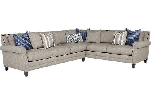 Piedmont Gray 2 Pc Sectional Sectionals Gray Living Room