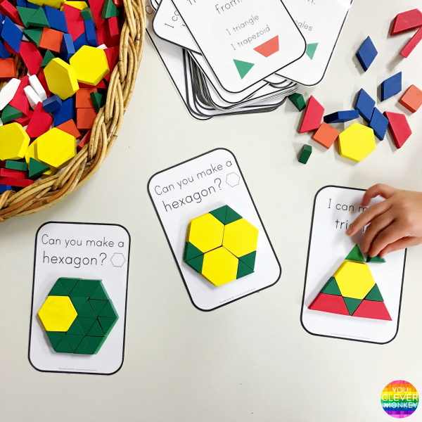2d Shape Pattern Block Challenge Cards Pattern Blocks 2d Shapes