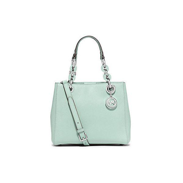 935fce86f2fabf Michael Kors Cynthia Small Saffiano Leather Satchel, Celadon(Green) ($298)  ❤ liked on Polyvore featuring bags, handbags, michael kors satchel, satchel  ...