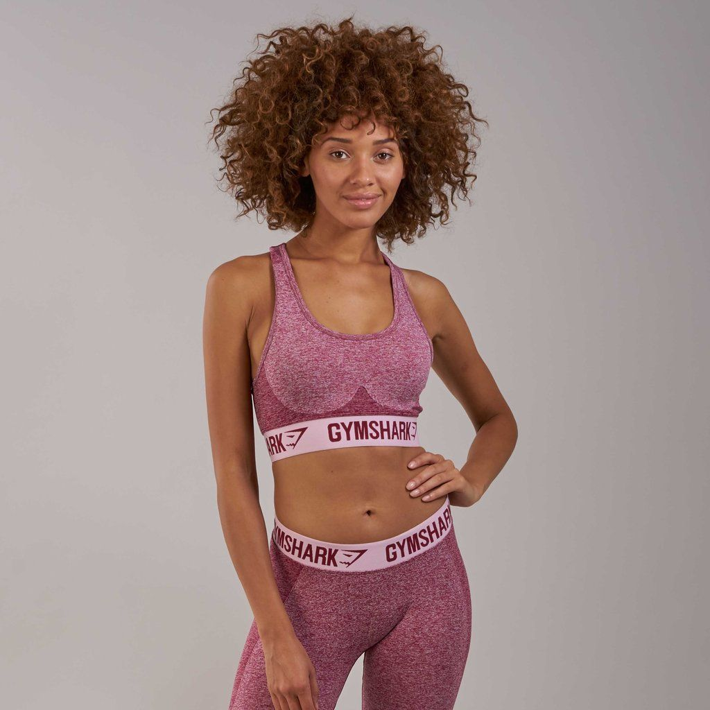 c6280a0f8c74a Gymshark Flex Sports Bra - Beet Marl Chalk Pink at Gymshark ...