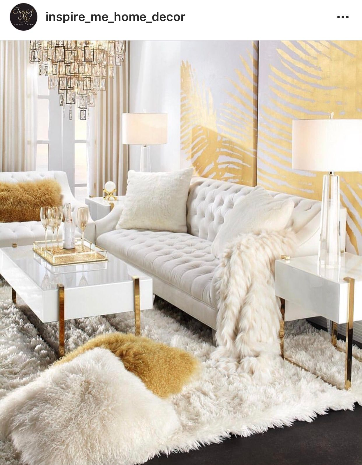White And Gold Glam Living Room Decor Luxury Living Room Gold