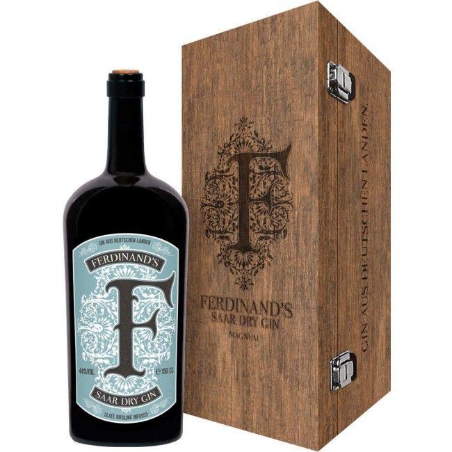 Ferdinand's Saar Dry Gin 1,5 Liter Magnum in Holzkiste Packung