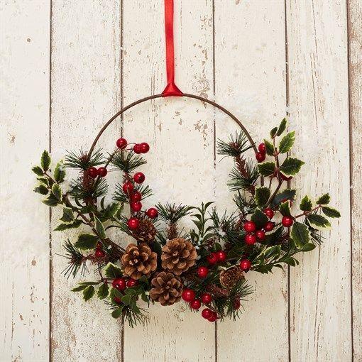 Photo of Festive Foliage Hoop Wreath Hanging Decoration #adventkransen Festive Foliage Ho…