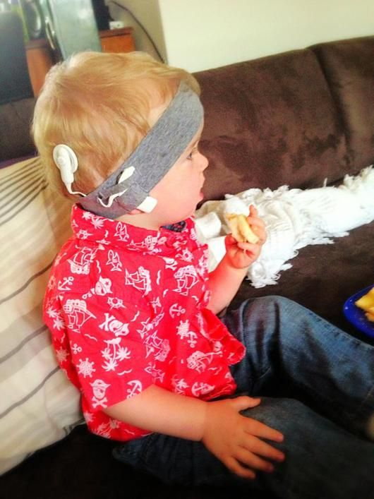 Cherry print childs cochlear implant headband