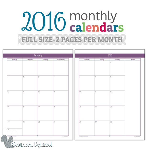 Monthly Calendar PrintablesFull Size Edition  Room