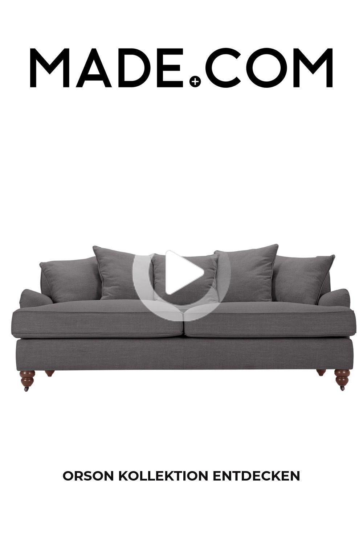 Orson 3 Sitzer Sofa Mit Kissen Graphitgrau In 2020 Weisses Wohnzimmer 3 Sitzer Sofa Sofa