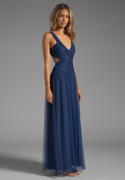 Bcbgmaxazria Mara Backless Dress In Navy Blue Lyst