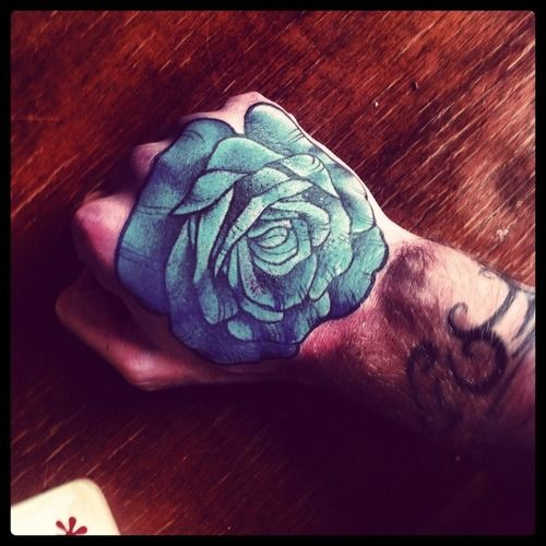 Blue Rose Floral Tattoos Tattoos Hand Tattoos Rose Hand Tattoo