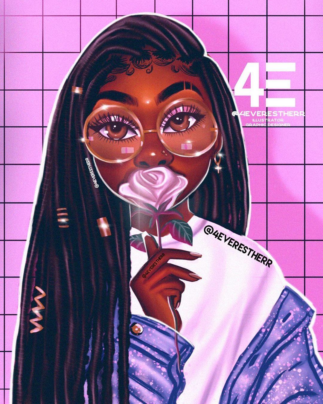 Estherr Luntadila On Instagram Lissa Illustration Drawing Art Artist Dreads Drea Black Girl Cartoon Drawings Of Black Girls Black Girl Art