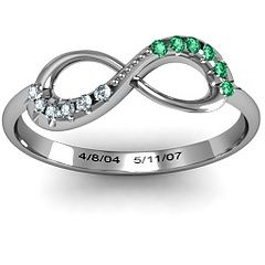 Mother's Infinity ring. Children's birthstones with birth dates engraved. Awesome mothers day gift!