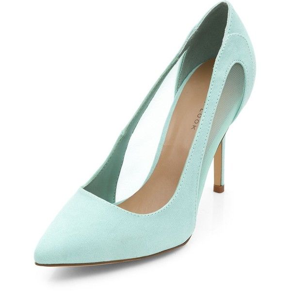 39526660f0c Mint Green Mesh Panel Pointed Heels found on Polyvore featuring polyvore