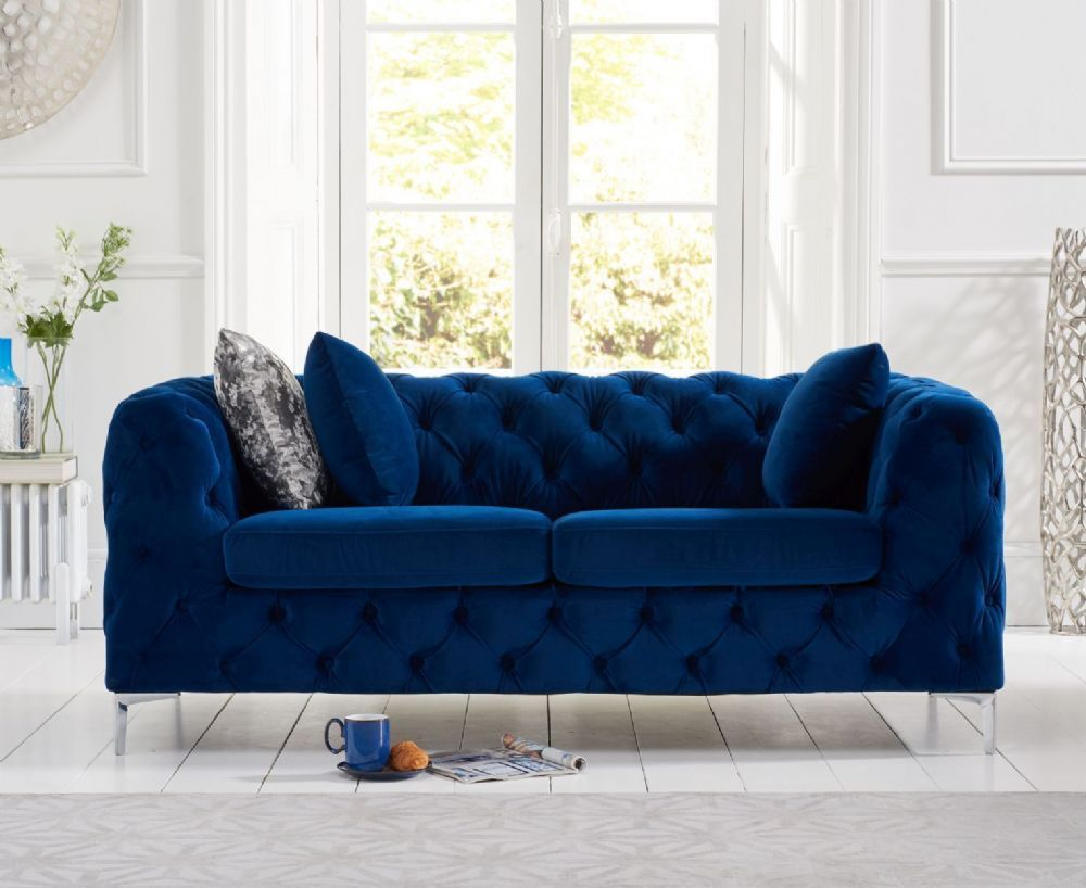 The Alegra 2 Seater Sofa In Blue Plush Fabric Is Extremely Comfortable And Luxurious In Look Th Blue Sofas Living Room Blue Living Room Decor Three Seater Sofa
