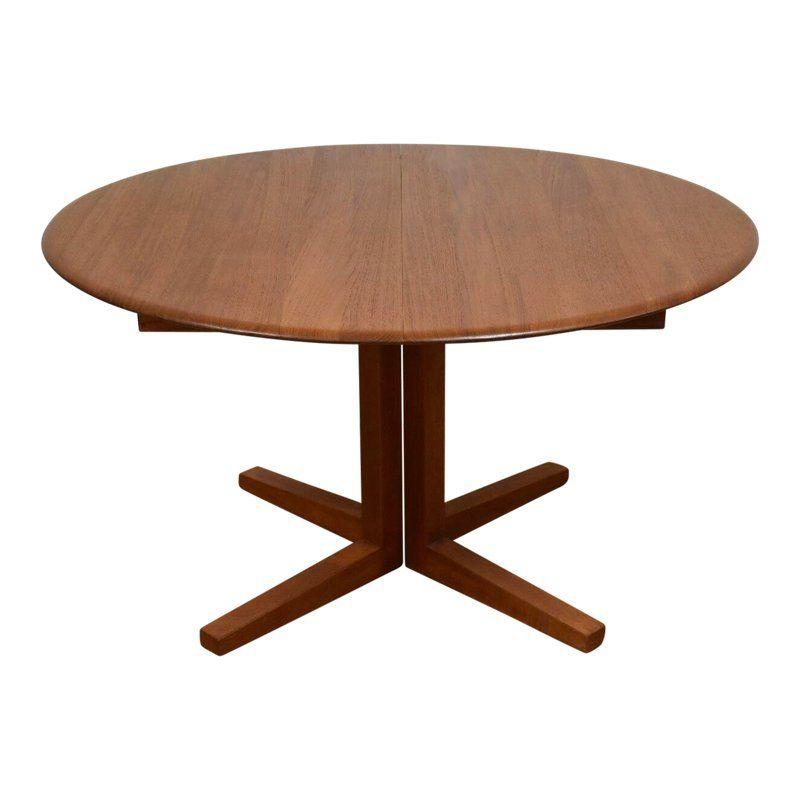 Danish Modern Round Teak Dining Table W Leaf Round Dinning