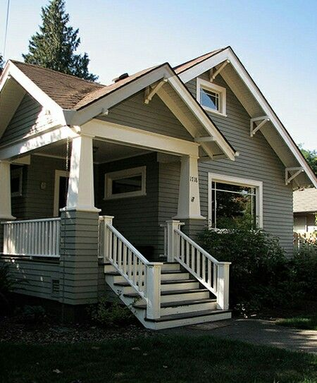 Gray With Brown Roof Bungalow Exterior Craftsman House Exterior Paint Colors For House