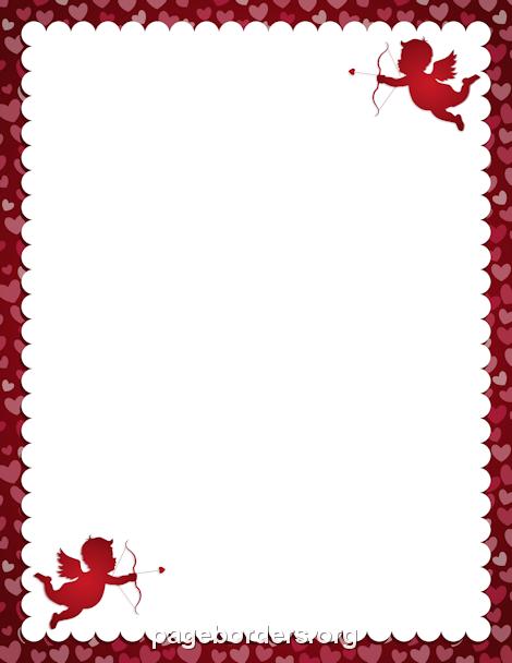 Cupid Border Valentines Day Border Page Borders Clip Art Borders