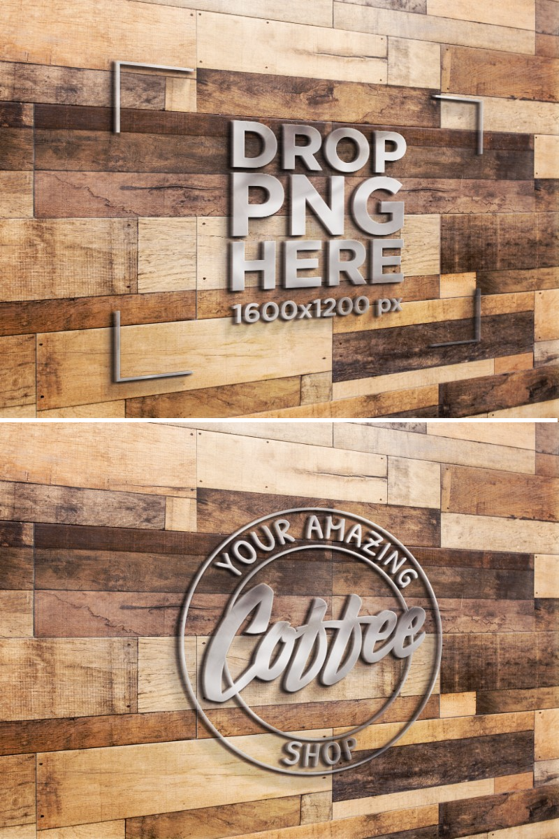 Angled Template of a Metal 3D Logo on a Wooden Boards Wall