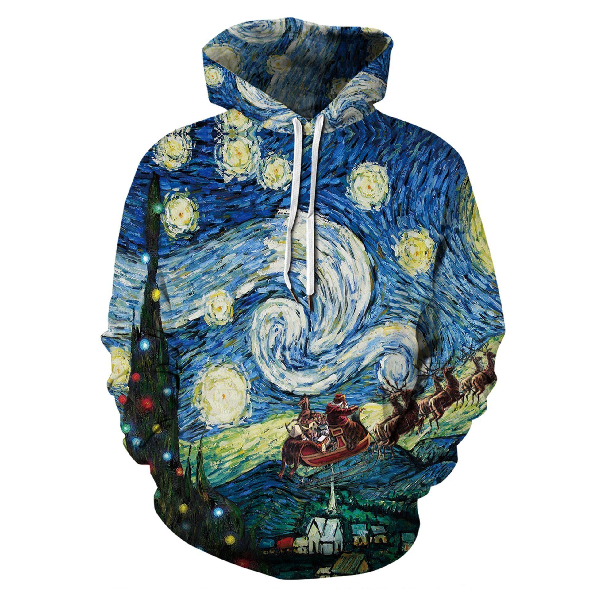 Oil Painting Print Funny Christmas Hoodie Casual