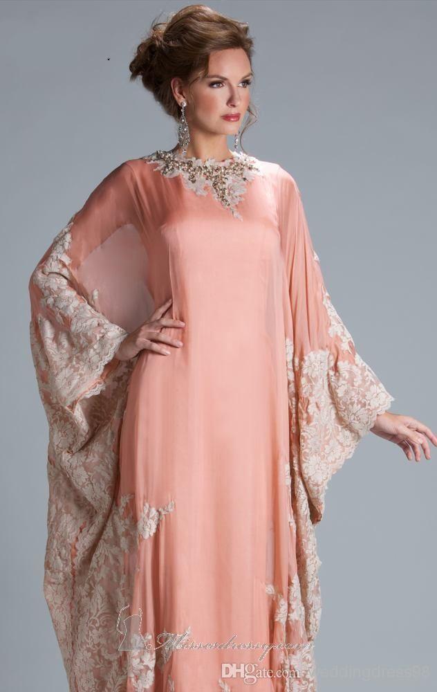Árabe con estilo 2014 Loose manga larga vestido de noche de gasa con ...