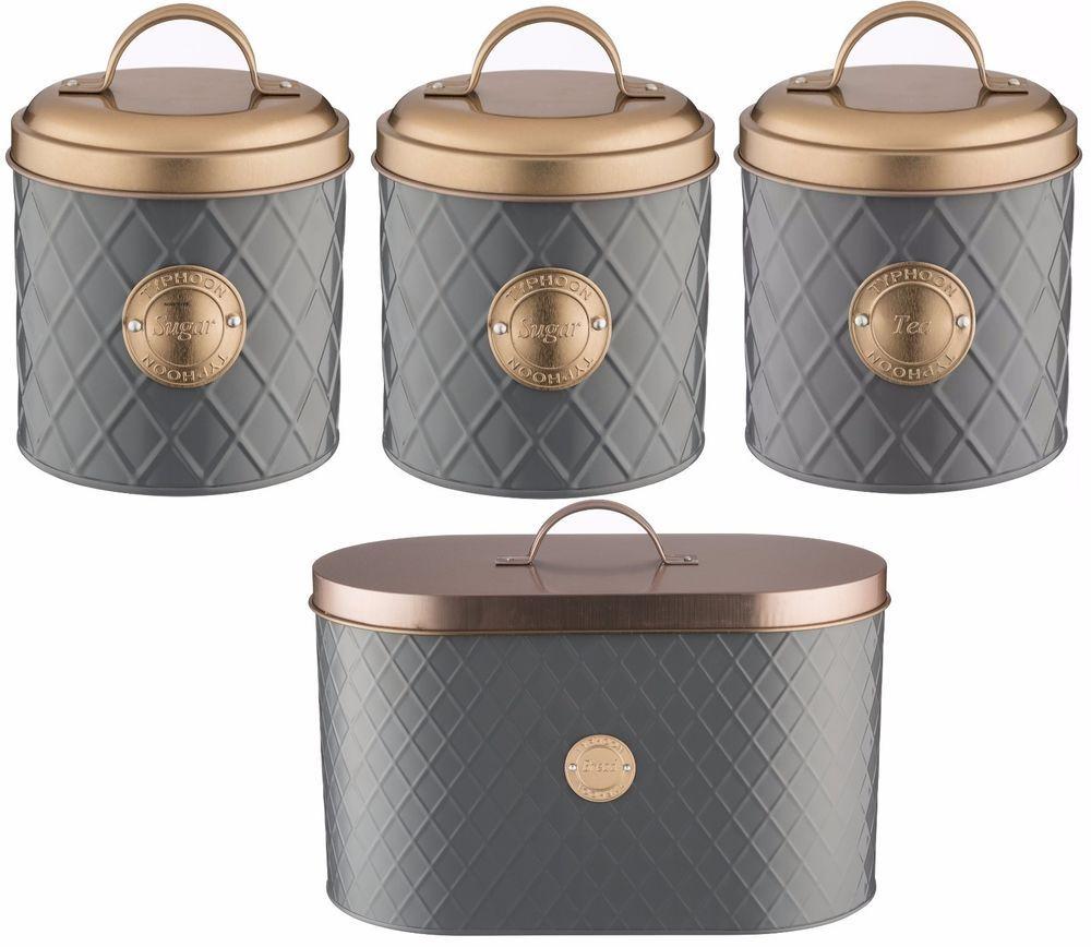 typhoon copper lid tea coffee sugar set canister bread bin bread
