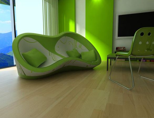 Lime Green And White Sofa Design