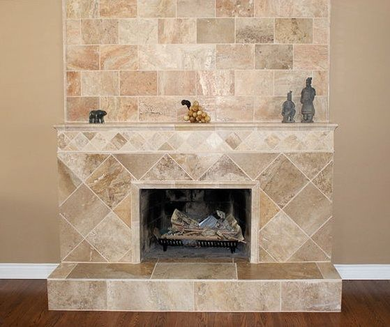 Travertine Tile Fireplace | Tile Design Ideas