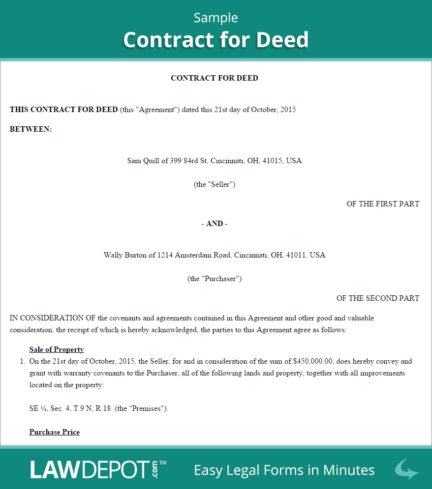 Land Contract Forms Free Contract For Deed Form Us Contract Contract Template Templates