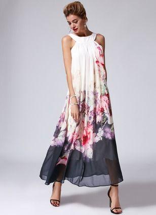 Chiffon Floral Sleeveless Maxi Casual Dresses