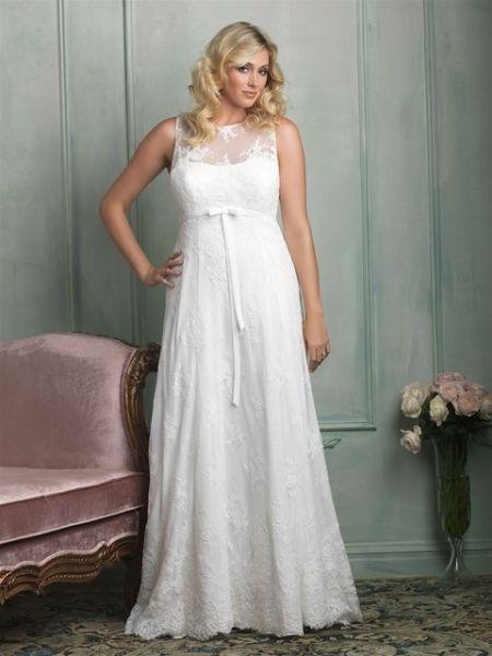 vestido de novia blanco tallas grandes corte imperio cinta abajo del