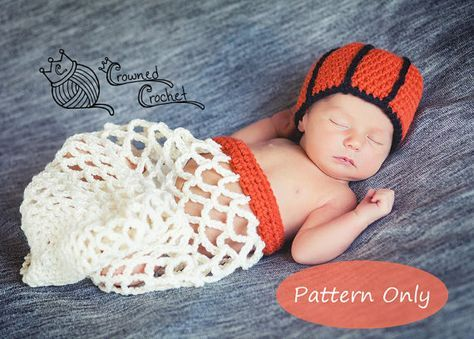 PATTERN ONLY Crochet Baby Basketball Net Cocoon Photography Photo Prop, PDF Digital Download, Crochet Pattern, Newborn Basketball Set #crownscrocheted